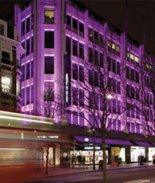 Brittiska varuhuset House of Fraser i London har fasadbelysning